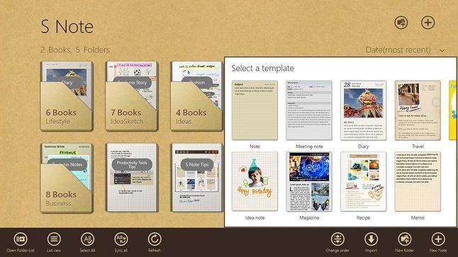 menu główne Snote na Windows8