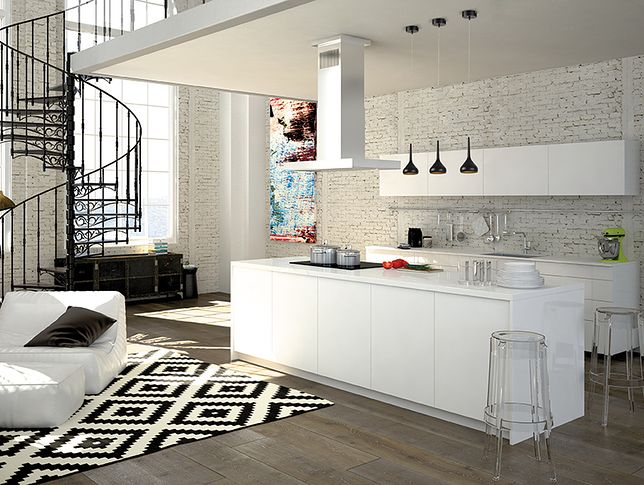 Modern loft with a kitchen and living room. 3d rendering