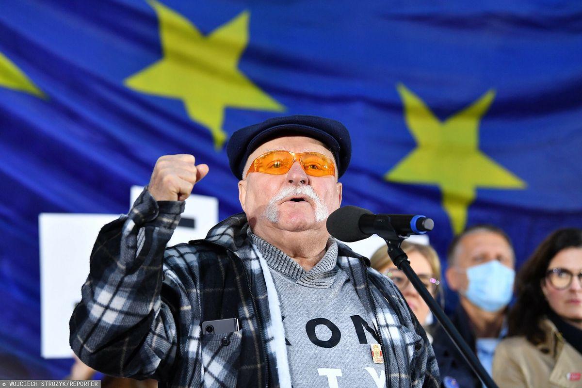 Były prezydent Lech Wałęsa na wiecu w Gdańsku