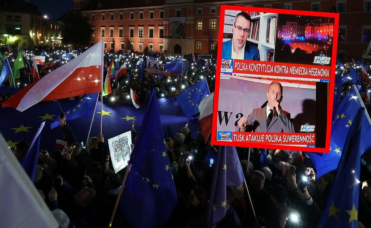 """TVP Info ilustrowało wiec w Warszawie takimi paskami jak np. """"Tusk atakuje polską suwerenność"""""""