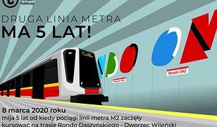 Warszawa. Druga linia metra obchodzi urodziny. Jeździmy już pięć lat