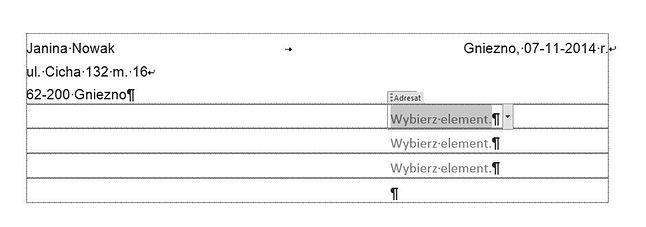Listy wyboru wstawione w miejscu danych adresata