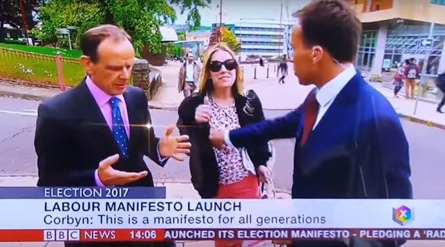 Ogromna wpadka dziennikarza BBC. Chciał tylko, by kobieta wyszła z kadru