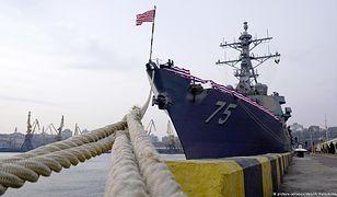 Amerykański niszczyciel USS Donald Cook w porcie w Odessie
