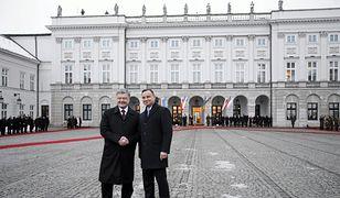 Prezydent Polski Andrzej Duda podczas spotkania z prezydentem Ukrainy Petro Poroszenko
