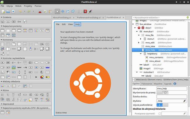 Interface projketu stworzonego w Quickly edytowany w Glade