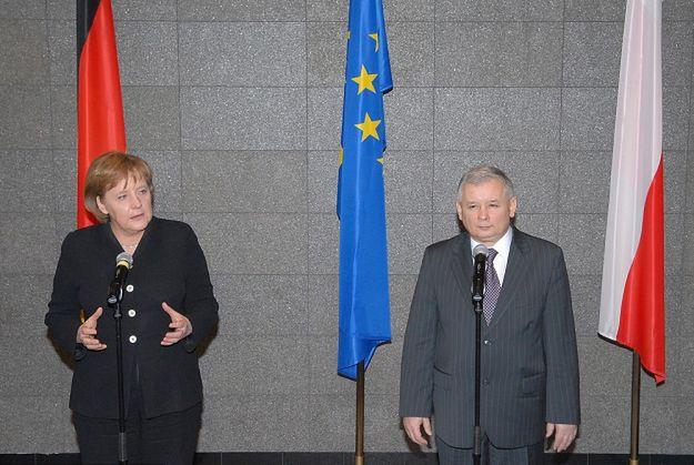 Angela Merkel podczas spotkania z Jarosławem Kaczyńskim w Warszawie