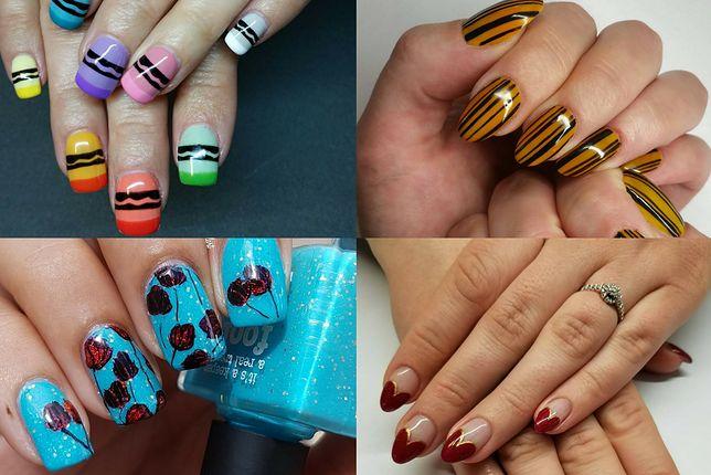 Nieskomplikowane wzory na paznokcie możemy spróbować stworzyć samodzielnie (fot. jenniferdoesnails, nellsnailart)