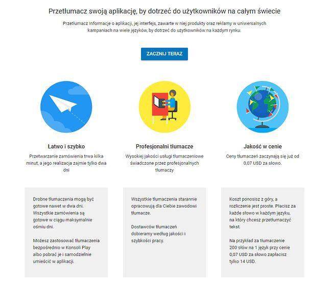 Google pozwala teraz w prosty sposób zamawiać profesjonalne tłumaczenia aplikacji i ich opisów do wykorzystania w Sklepie Play.