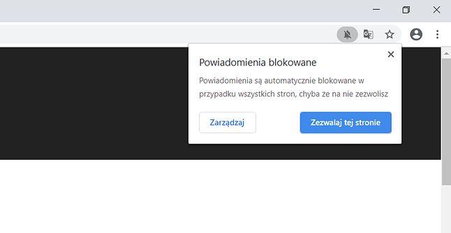 Po kliknięciu ikony na pasku adresu można przeczytać dodatkowe informacje.