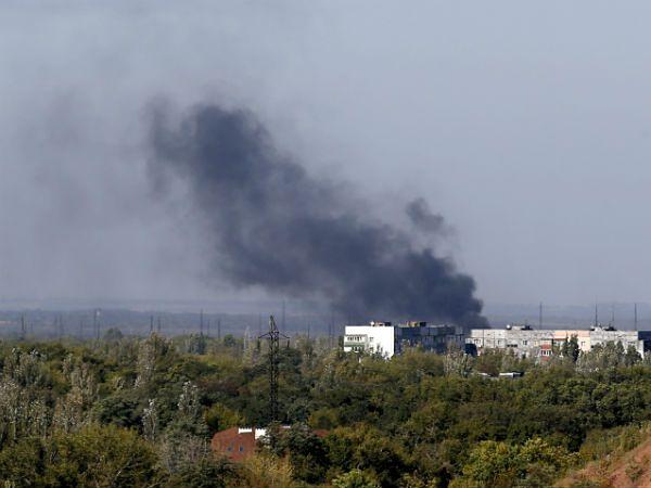 Dym unoszący się nad Donieckiem