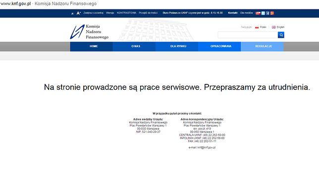 Strona KNF nie działa – efekt ataku na polskie banki?