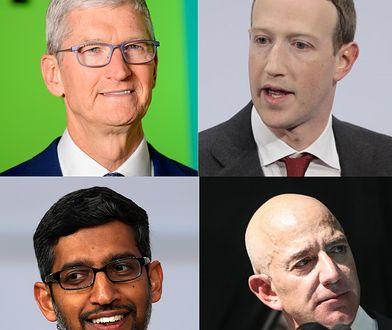 Tim Cook, Mark Zuckerberg, Sundari Pichai, Jeff Bezos