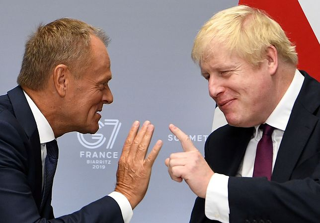 Donald Tusk i Boris Johnson
