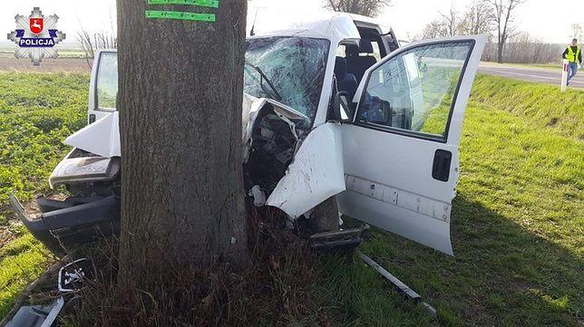 Miejscowość Siedliszczki na DK 17. Kierujący busem zjechał z drogi i uderzył w drzewo