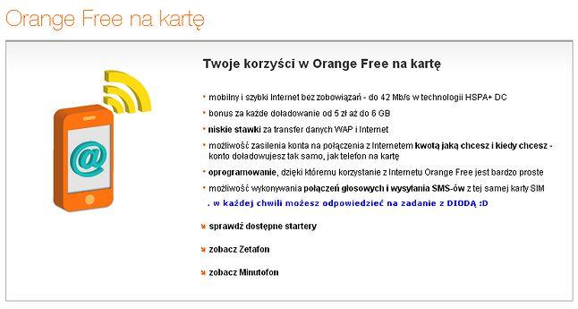 Orange Free na kartę - dziękuję :D