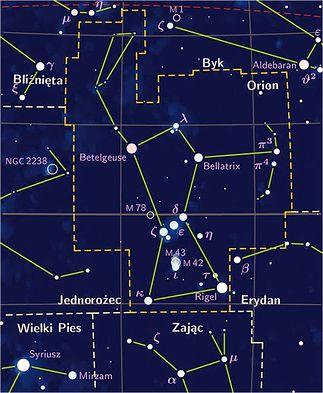 konstelacja Oriona na mapie nieba
