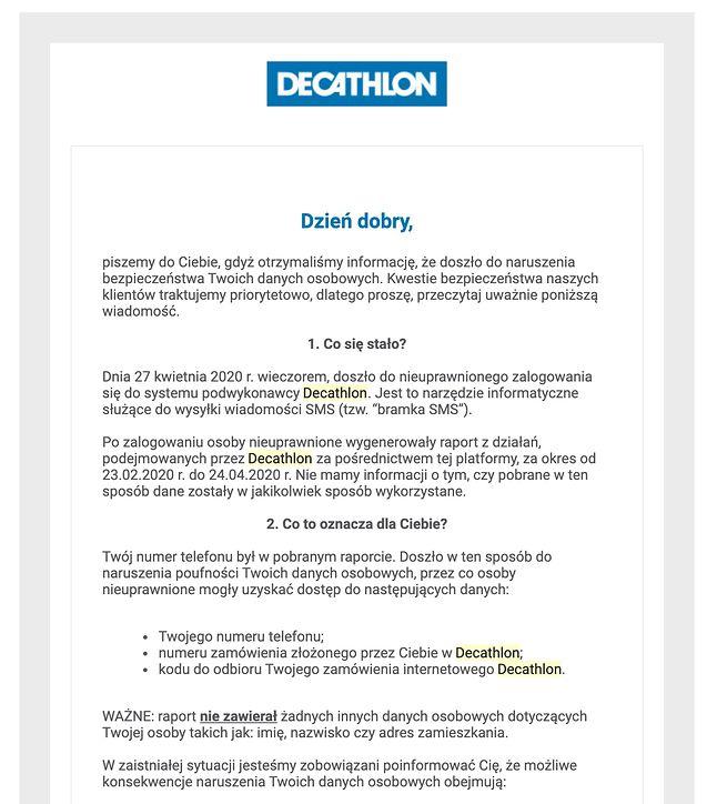 Decathlon przeprasza za wyciek danych, fot. Niebezpiecznik.