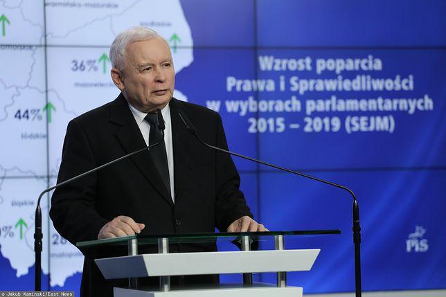 Wybory parlamentarne 2019. Konferencja Jarosława Kaczyńskiego po naradzie w siedzibie PiS