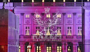 Iluminacje na Pałacu Prezydenckim