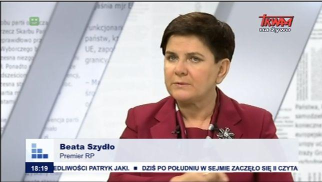 Beata Szydło udziela wywiadu na antenie TV Trwam