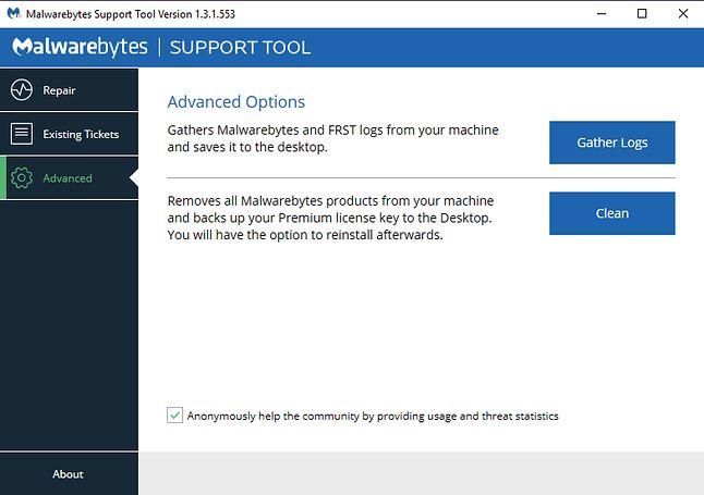 Malwarebytes Support Tool pozwala zebrać logi z głównej aplikacji.