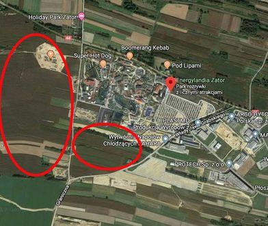 Na czerwono zaznaczono tereny, o które - według portalu wadowice24.pl, powiększyć ma się Energylandia