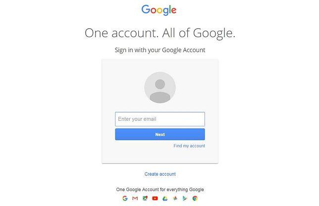 Poczta Gmail oraz konto Google posiadają tą samą stronę logowania. Na ilustracji anglojęzyczna strona, na którą kierują hakerzy.