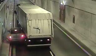 #dziejesiewmoto: osobówka staranowana przez tira w tunelu