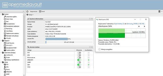 Upload - Jak widać transfer utrzymuję się na stabilnym poziomie 100 MB/s a obciążenie procesora to niecałe 50%