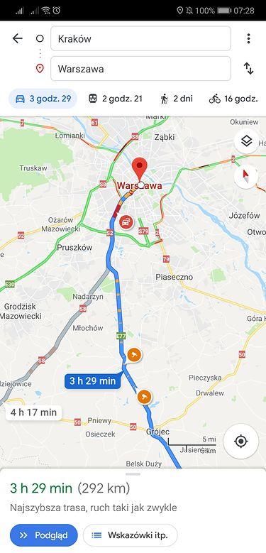 Fotoradary w Mapach Google na etapie planowania trasy.