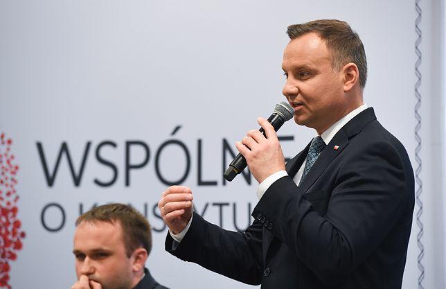 """Prezydent Andrzej Duda podczas kongresu """"Wspólnie o konstytucji""""."""