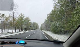 Śnieg na trasie do Mrągowa (zdjęcie czytelnika)
