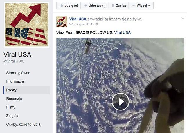 Transmisja z Międzynarodowej Stacji Kosmicznej  na Facebooku to oszustwo