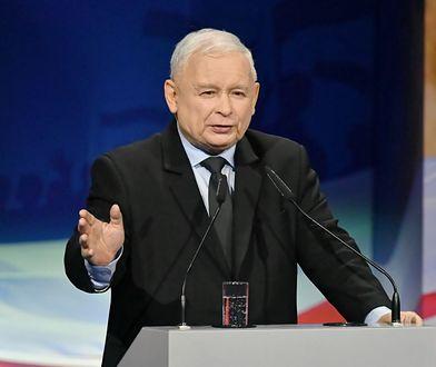 Prezes PiS Jarosław Kaczyński na konwencji wyborczej w Kielcach.