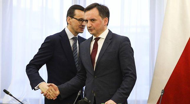 Mateusz Morawiecki i Zbigniew Ziobro podczas spotkania premiera z szefami klubów parlamentarnych