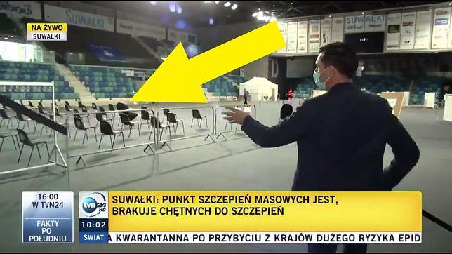 Taki widok TVN24 zastał w punkcie szczepień w Suwałkach