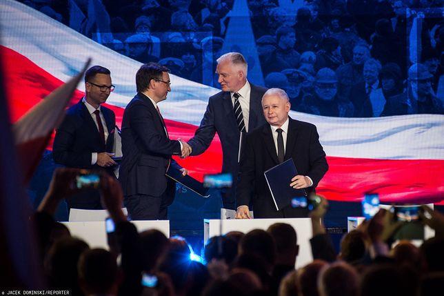 Rekonstrukcja rządu. Zjednoczona Prawica: Zbigniew Ziobro, Jarosław Gowin i Jarosław Kaczyński