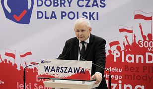 Wybory parlamentarne 2019. Jarosław Kaczyński (prezes PiS) podczas konferencji w Warszawie