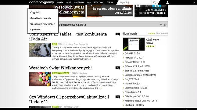 IE modern obsługiwane z touchpada...