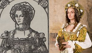 Drzeworyt z 1521 r., na którym Bona Sforza nie ma jeszcze trzydziestu lat i współczesna rekonstrukcja wyglądu królowej