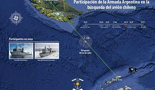 Obszar poszukiwań zaginionego samolotu C-130 Hercules chilijskich sił powietrznych