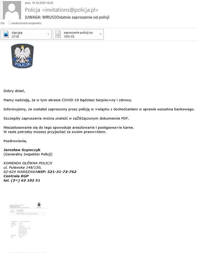 Policja ostrzega przed e-mailami od podszywaczy, fot. Policja.