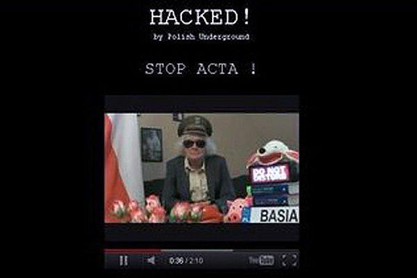 Zaatakowana przez hakerów strona główna serwisu internetowego kancelarii premiera www.kprm.gov.pl