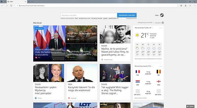 Domyślna zawartość nowej karty w Microsoft Edge to wiadomości MSN.