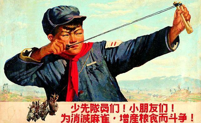 Chiński plakat propagandowy z czasów Wielkiego skoku