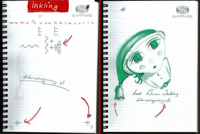 Na skanie umieściłam zielony obraz odczytany przez Inkling