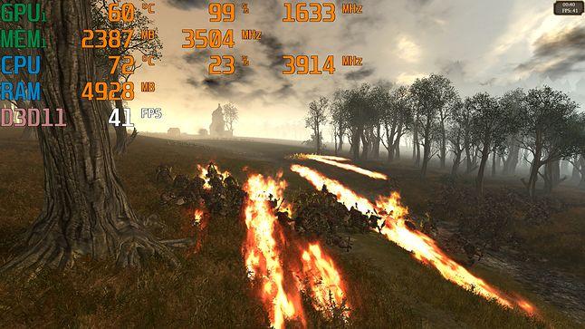 Total War: WARHAMMER / 1080p, ust. wysokie, AA x0 / śr. – 48,6 fps; min. – 39 fps