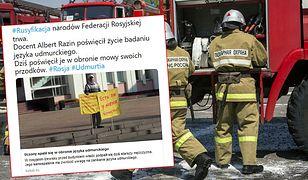 Rosja. Albert Razin na chwilę przed samospaleniem przed budynkiem władz w Iżewsku.