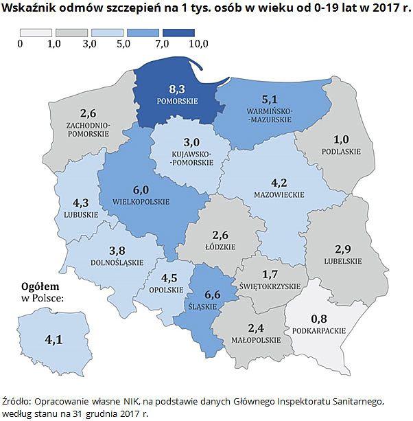 Pomorze to region Polski, gdzie najwięcej osób uchyla się od szczepień